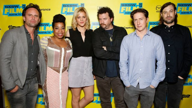 L-R) Actors Walton Goggins, Kimberly Hebert Gregory, Georgia King, writer/actor/producer Danny McBride, director David Gordon Green and writer/producer Jody Hill