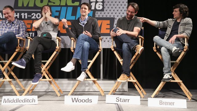(L-R) Writer/director/producer Mike Judge, executive producer Alec Berg, actors Thomas Middleditch, Zach Woods, Martin Starr and Josh Brener