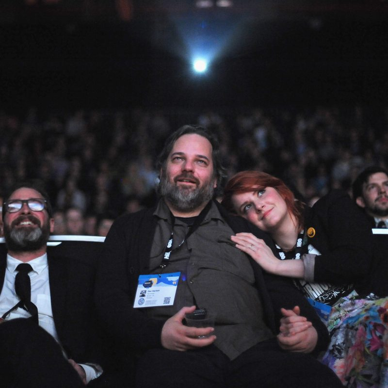 Writer/director Neil Berkeley, Dan Harmon and Erin McGathy attend the