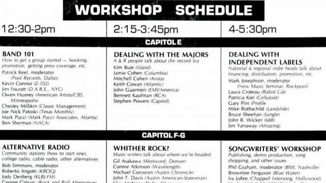 SXSW 1987 Workshop Schedule