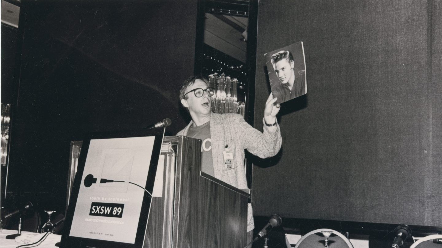 Robert Christgau at SXSW 1989. Photographer unknown.