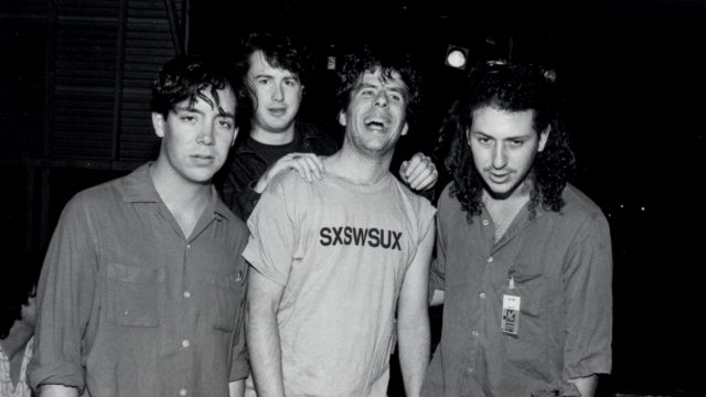 Miles Zuniga, Bill David, Mojo Nixon & Ricky Gelb at SXSW 1989. Photo by Martha Grenon.