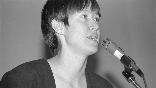 Michelle Shocked at SXSW 1992. Photo by Martha Grenon.