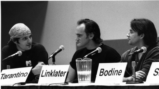 Robert Rodriguez, Quentin Tarantino & Richard Linklater at SXSW Film 1997. Photo by Shelley Rutledge.
