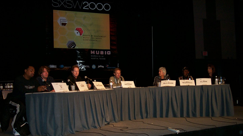 Chuck D, Peter Case, Roger McGuinn, Joe Nick Patoski, Ian McLagan, Bernie Worrell, & Terri Clark at SXSW Music 2000
