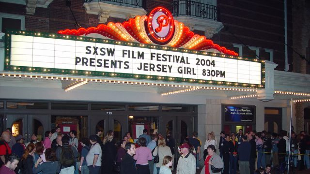 Paramount Theatre marquee at SXSW Film 2004. Photographer unknown.