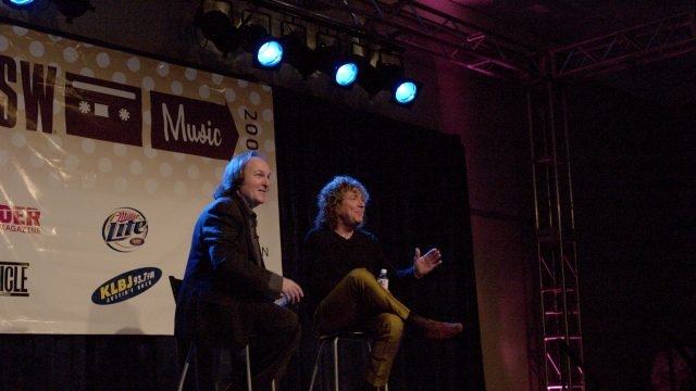 Bill Flanagan & Robert Plant at SXSW 2005. Photo by Charlie Llewellin.