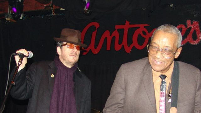 Elvis Costello & Hubert Sumlin at SXSW 2005. Photo by Gary Miller.