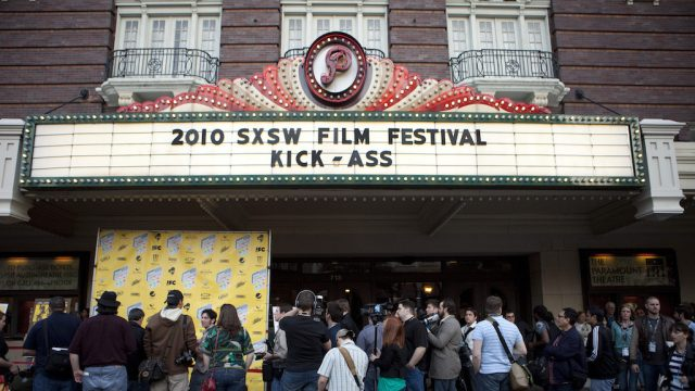 "The premiere of ""Kick-Ass"" at the Paramount Theatre during SXSW Film 2010. Photo by Sean Mathis."