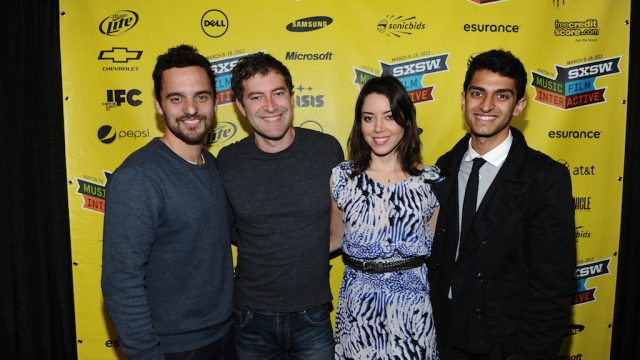 "Jake Johnson, Mark Duplass, Aubrey Plaza & Karan Soni at the premiere of ""Safety Not Guaranteed"" at SXSW Film 2012. Photo by Michael Buckner/Getty Images."