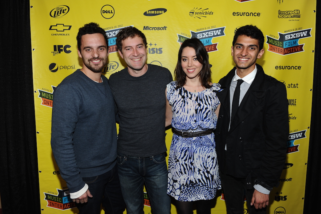 "Jake Johnson, Mark Duplass, Aubrey Plaza & Karan Soni at the premiere of ""Safety Not Guaranteed"" at SXSW Film 2012"