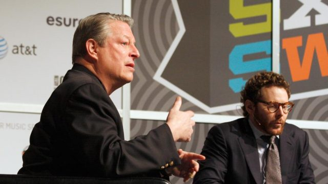 Al Gore and Sean Parker (Napster) at SXSW Interactive 2012. Photo by Heather Kennedy/Getty Images.