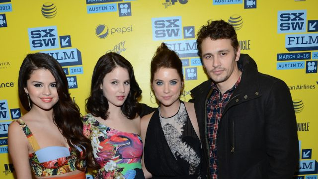 "Selena Gomez, Rachel Korine, Ashley Benson & James Franco at the ""Spring Breakers"" premiere at SXSW Film 2013. Photo by Michael Buckner/Getty Images."