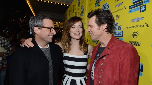 "Steve Carrell, Olivia Wilde & Jim Carrey at ""The Incredible Burt Wonderstone"" world premiere at SXSW Film 2013. Photo by Michael Buckner/Getty Images."