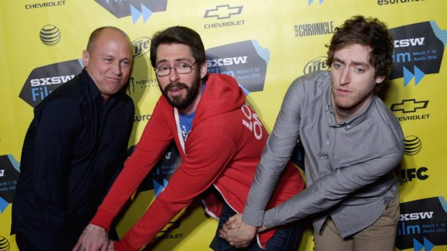 "Mike Judge, Martin Starr & Thomas Middleditch at the ""Silicon Valley"" premiere at SXSW Film 2014. Photo by Dustin Finkelstein/Getty Images."