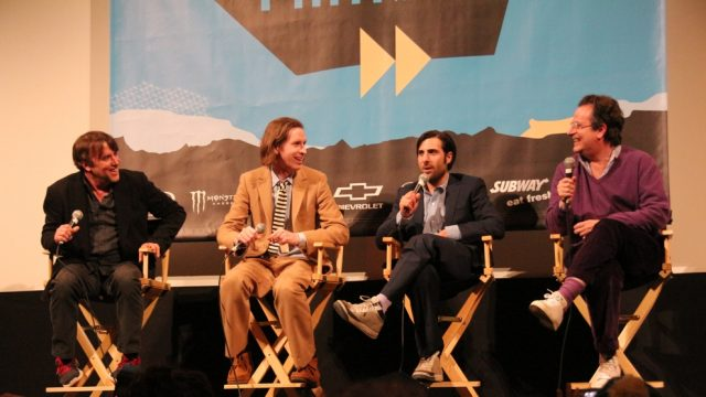 "Richard Linkater, Wes Anderson, Jason Schwartzman & Randall Poster at a special Q&A for ""The Grand Budapest Hotel"" at SXSW Film 2014. Photo by Claudio Fox."