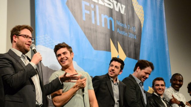 "Seth Rogen, Zac Efron, Christopher Mintz-Plasse, Ike Barinholtz, Dave Franco & Jerrod Carmichael at the premiere of ""Neighbors"" at SXSW Film 2014. Photo by Yoomi Park."