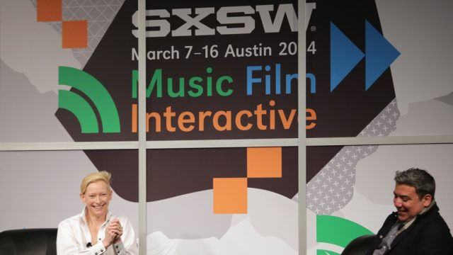 Tilda Swinton & Eugene Hernandez at the 2014 SXSW Film Conference. Photo by Heather Kennedy/Getty Images.