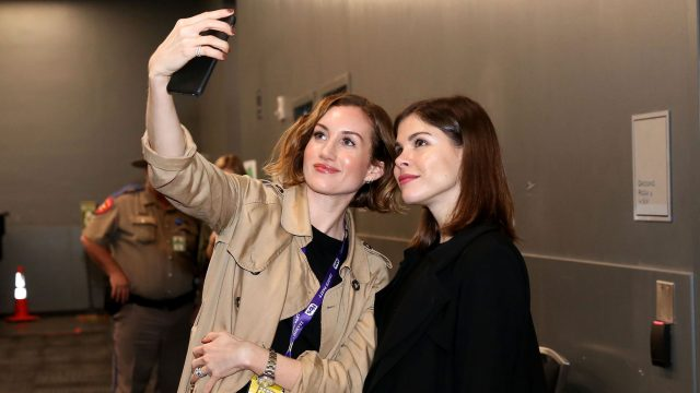 Katherine Power, co-founder and CEO of Clique Media Group (L) and Emily Weiss, founder and CEO of Glossier