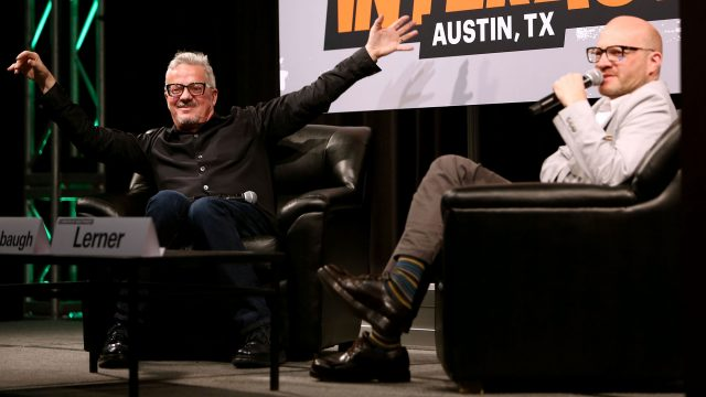 Musician Mark Mothersbaugh (L) and Adam Lerner, Director of the Museum of Contemporary Art Denver