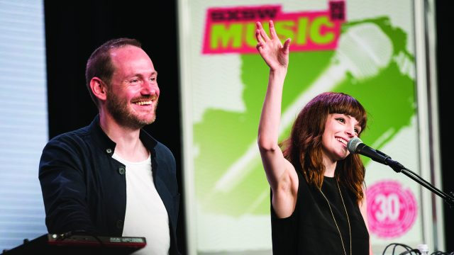 Chvrches at SXSW Music 2016 photo by Ron Herrman