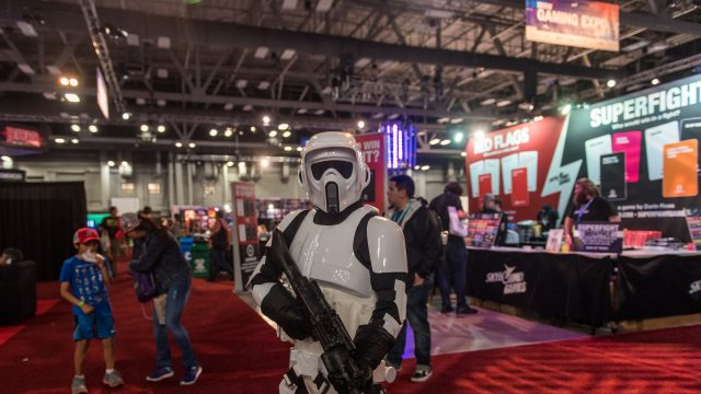 A person dressed up as a Star Wars character attends the SXSW Gaming Expo
