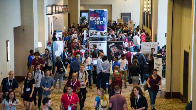 A large crowd gathers at one of the Startup Spotlights at SXSW 2017