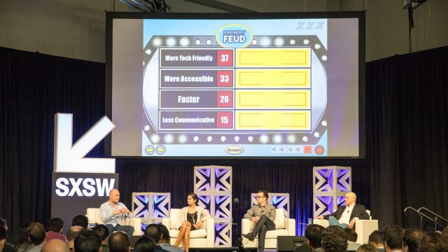 A game show being played at Next Stage at the SXSW Trade Show