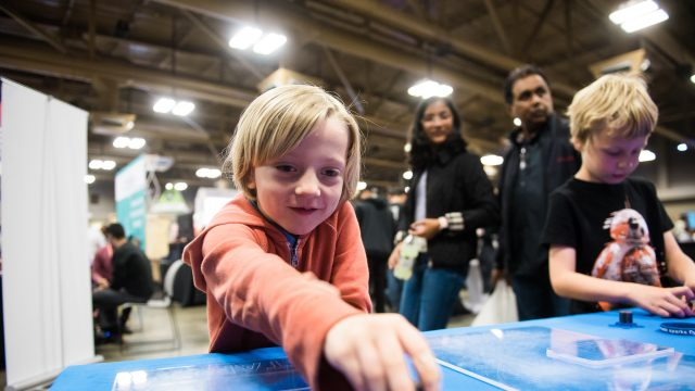 A child experiences the fun at SXSW Create at the Palmer Events Center in Austin, TX.