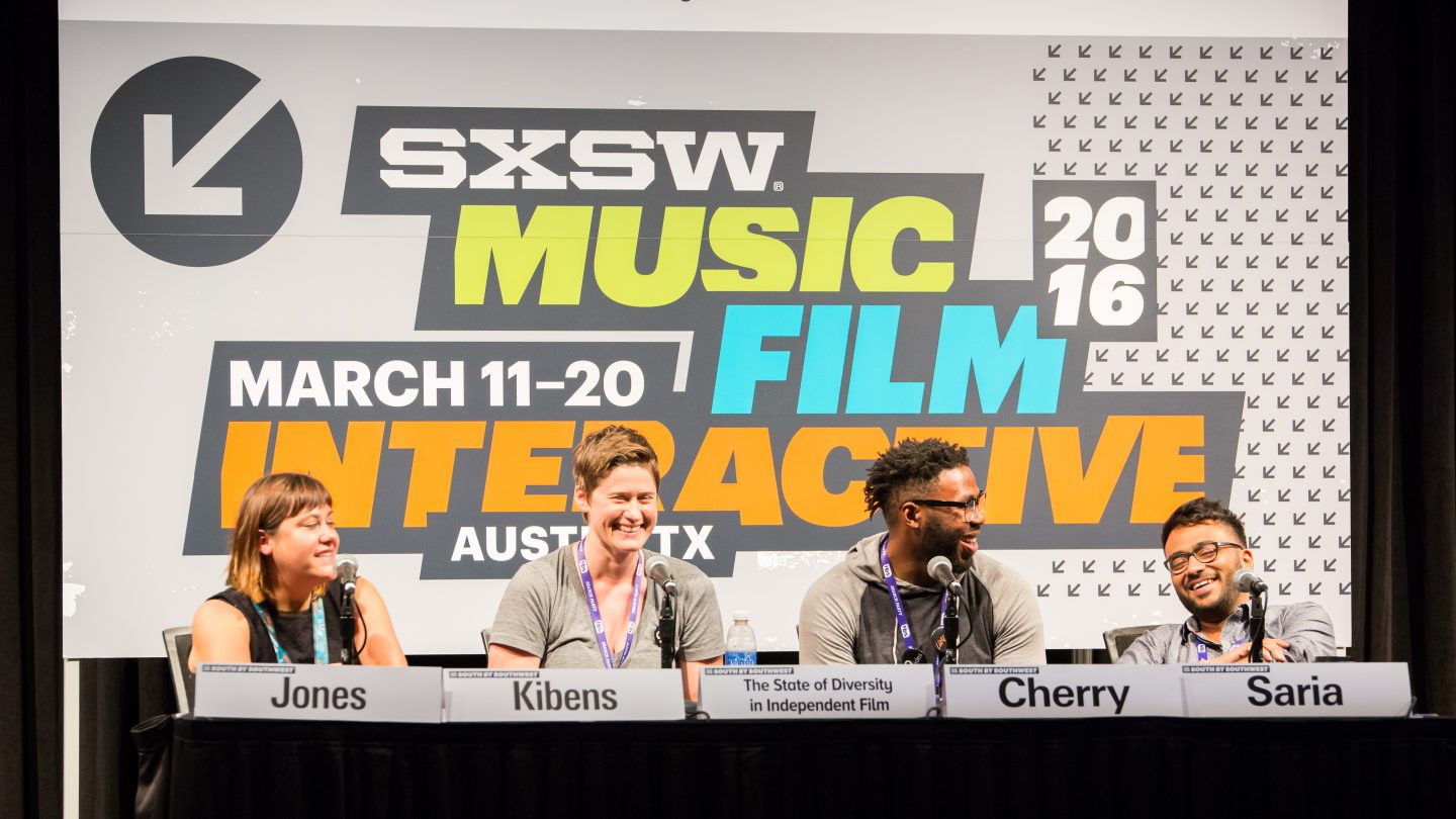 """The State of Diversity in Independent Film"" panel at SXSW 2016. Photo by Errich Petersen"