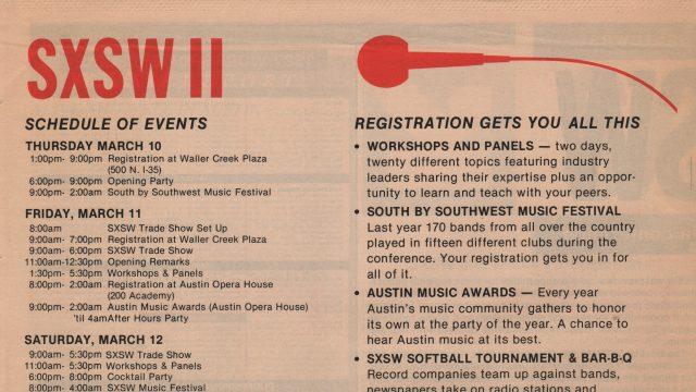 SXSW 1988 Brochure