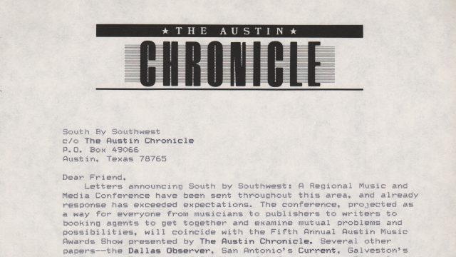 SXSW 1987 Announcement Letter