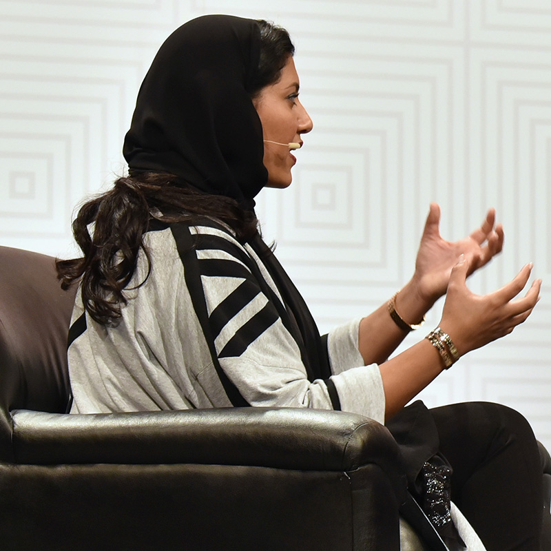 Princess Reema Bint Bandar Al Saud (L) and Bob Safian, Editor of Fast Company speak onstage at 'Princess Reema's Mission to Empower Saudi Women' during the 2015 SXSW Music, Film + Interactive Festival at Austin Convention Center on March 14, 2015 in Austin, Texas. Photo by Amy E. Price/Getty Images.