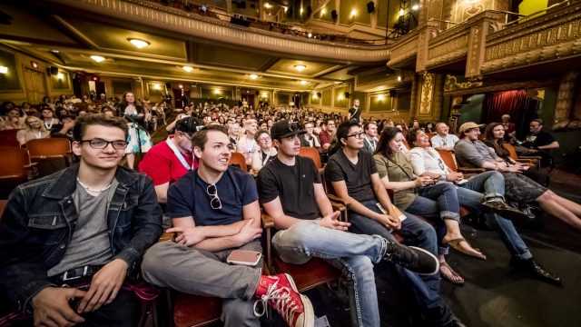 Wide shot of audience at the Paramount