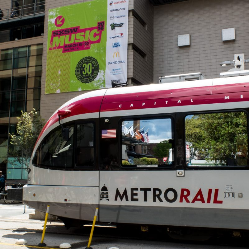 CapMetro outside of the Austin Convention Center during SXSW 2016. Photo by Tim Strauss