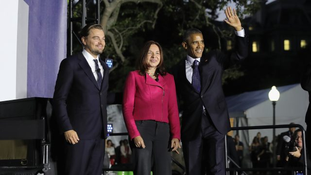 WASHINGTON, DC - OCTOBER 03:  Leonardo DiCaprio, Dr. Katharine Hayhoe and President Barack Obama speak onstage at the South By South Lawn at The White House on October 3, 2016 in Washington, DC.  (Photo by Neilson Barnard/Getty Images for SXSW )