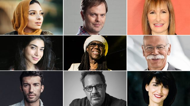 2017 SXSW Conference Featured Session Speakers (l-r) Noor Tagouri, Rainn Wilson, Dr. Dieter Zetsche, Shiza Shahid, Niles Rodgers, Gale Anne Hurd, Justin Baldoni, Richard Gladstein, and Ruth Vitale.