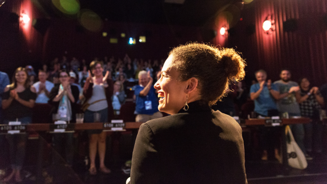 Director Jennifer Brea at the 2017 SXSW Film screening of Unrest – Photo by Cal Holman