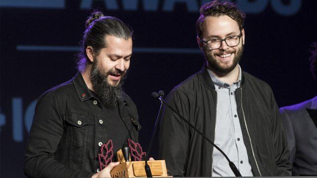 Arne Meyer and Scott Lowe, 2017 SXSW Gaming Awards - Photo by Thomas Tischio