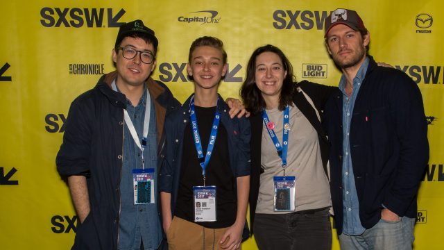Director Christopher Radcliff, Actor James Freedson-Jackson, Director Lauren Wolkstein and Actor Alex Pettyfer at the world premiere of The Strange Ones during the 2017 SXSW Festivals and Conferences.