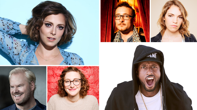 SXSW Comedy participants (l-r) Rachel Bloom, James Adomian – Photo by Mindy Tucker; Beth Stelling – Photo by Mindy Tucker; Jim Gaffigan; Jo Firestone – Photo by Mindy Tucker; and James Davis