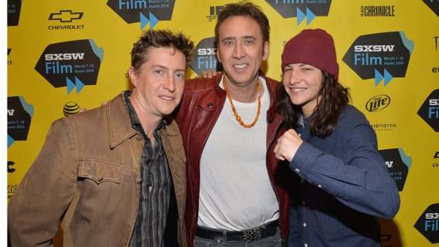 AUSTIN, TX - MARCH 09: (L-R) Director David Gordon Green, actor Nicholas Cage and actor Tye Sheridan pose for photos in the green room for the premiere of
