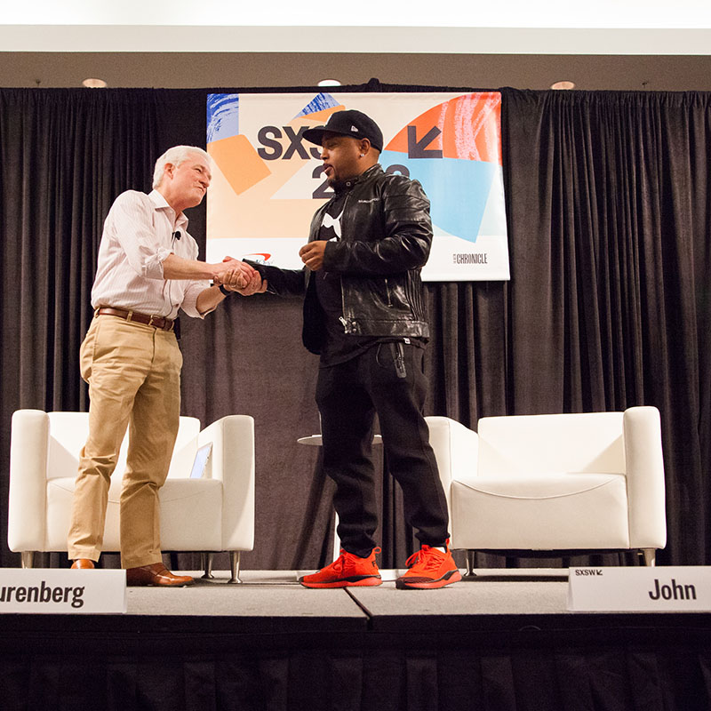 Daymond John Swim with a Shark: Rise & Grind to Maximize Your Day session SXSW 2018 - Photo by Debra Reyes