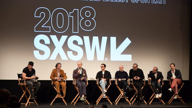 AUSTIN, TX - MARCH 17: Robert Rodriguez, Wes Anderson, Bill Murray, Kunichi Nomura, Bob Balaban, Jeff Goldblum, and Jeremy Dawson attend the