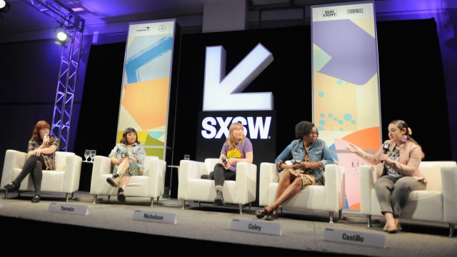 AUSTIN, TX - MARCH 11: (L-R) Alicia Malone, Jen Yamato, Amy Nicholson, Jacqueline Coley and Monica Castillo speak onstage at The Female Voices of Film Twitter during SXSW at Austin Convention Center on March 11, 2018 in Austin, Texas. (Photo by Nicola Gell/Getty Images for SXSW)