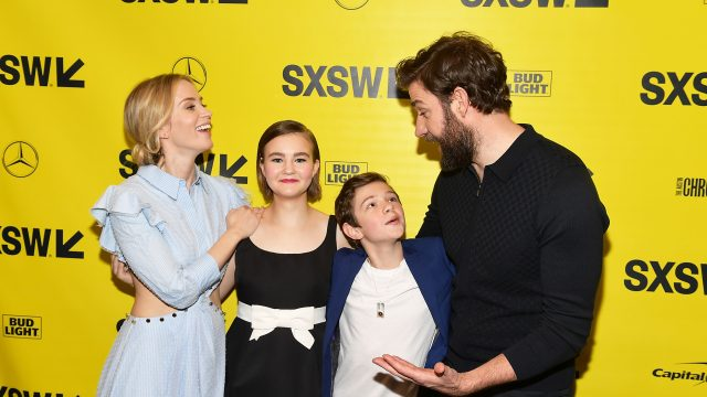 AUSTIN, TX - MARCH 09: Emily Blunt, Millicent Simmonds, Noah Jupe, and John Krasinski attend the