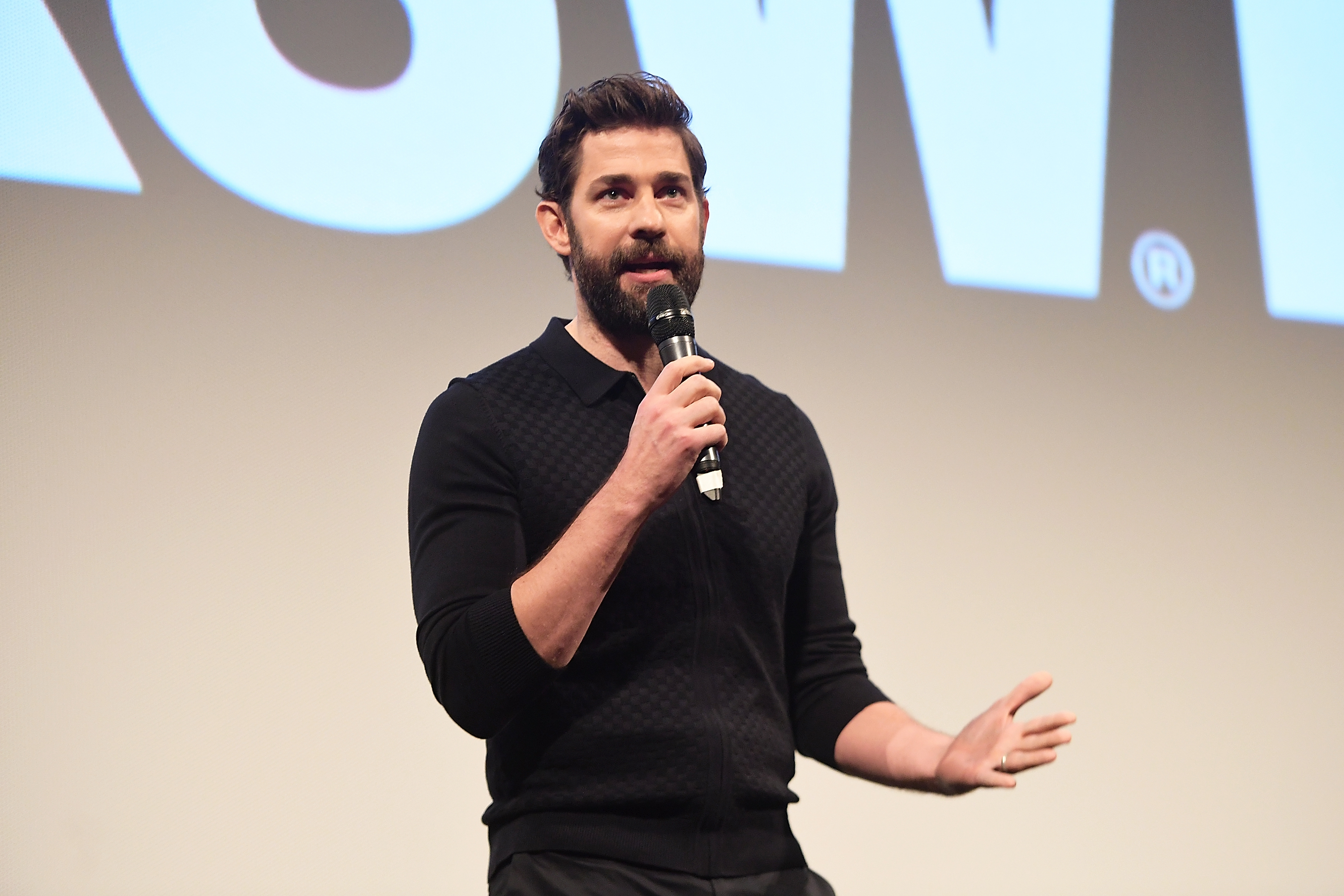 John Krasinski during the Q&A for A Quiet Place.