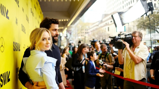 Emily Blunt and John Krasinski on the red carpet for A Quiet Place