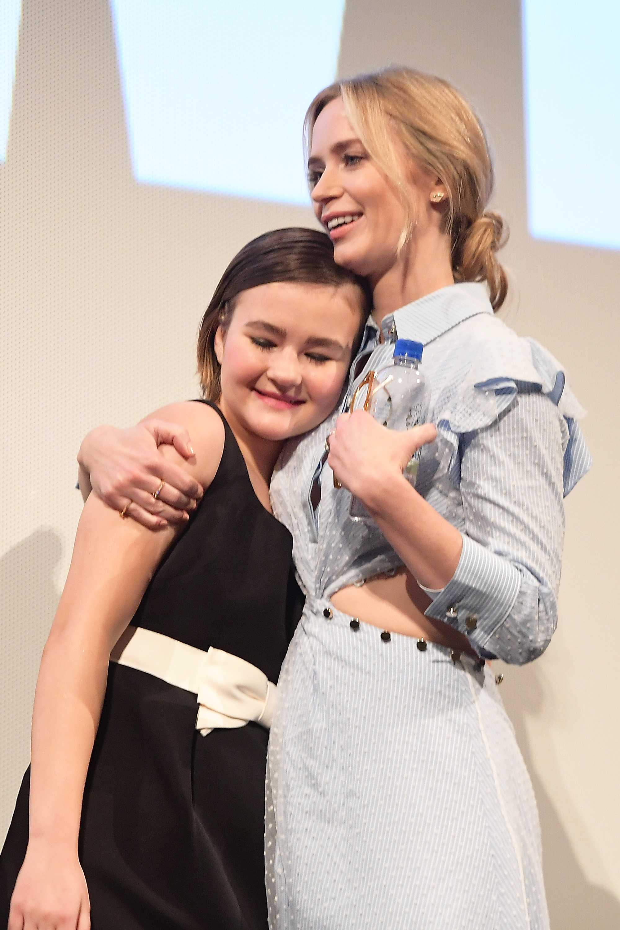 Emily Blunt and Millicent Simmonds during the Q&A for A Quiet Place.