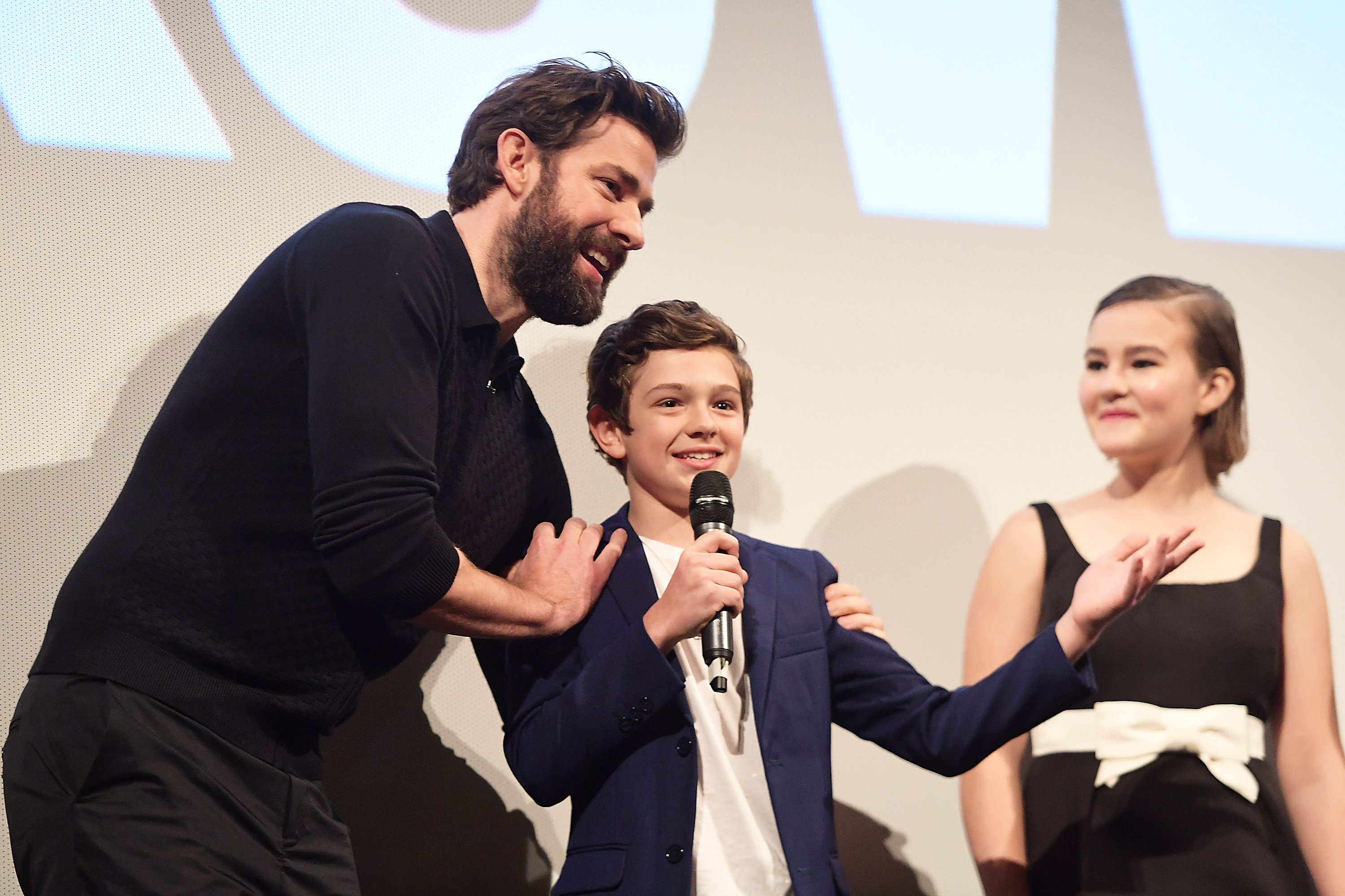John Krasinski, Noah Jupe,and Millicent Simmonds at the Q&A for A Quiet Place.